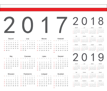almanac: Set of Polish 2017, 2018, 2019 year vector calendars. Week starts from Sunday.