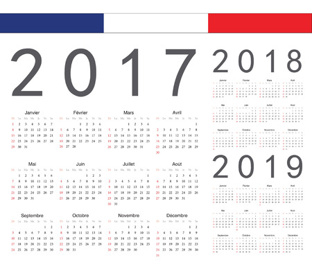 calendrier: Set of french 2017, 2018, 2019 year vector calendars. Week starts from Sunday. Illustration