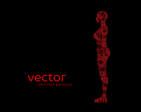 stranger: Abstract vector illustration of female body on red background. Side view.