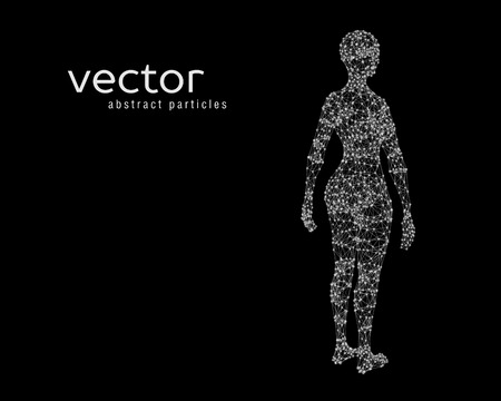 Abstract vector illustration of female body on black background. Perspective back view. Illustration