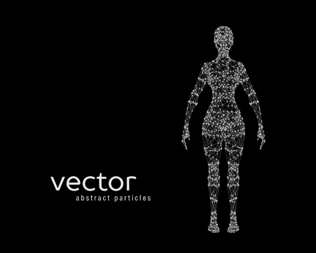 cyber woman: Abstract vector illustration of female body on black background. Front view. Illustration