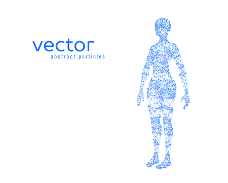 stranger: Abstract vector illustration of female body on white background. Perspective front view.