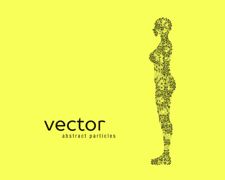cyber woman: Abstract vector illustration of female body on yellow background. Side view. Illustration