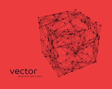 Resumen ilustración vectorial de cubo sobre fondo rojo