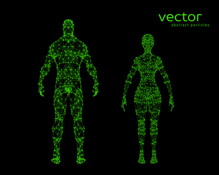 cyber woman: Abstract vector illustration of male and female body on black background. Illustration