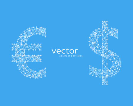 Abstract vector illustration of euro and dollar sign on blue background