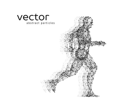 Abstract vector illustration of running man on white background.