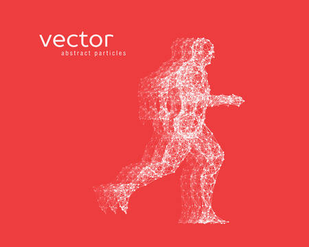 Abstract vector illustration of running man on red background.