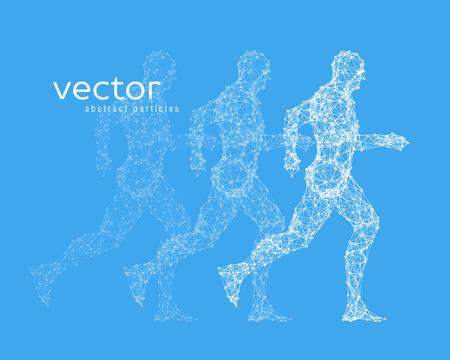 stranger: Abstract vector illustration of running man on blue background.