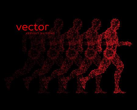 stranger: Abstract vector illustration of running man on black background.