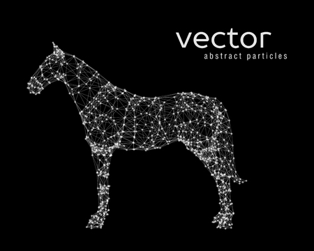 Abstract vector illustration of horse on black background