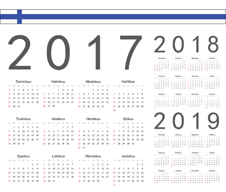 finnish: Set of Finnish 2017, 2018, 2019 year vector calendars. Week starts from Sunday.