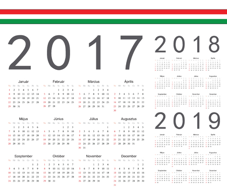 event planner: Set of Hungarian 2017, 2018, 2019 year vector calendars. Week starts from Sunday.