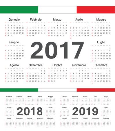 calendrier: Vector Italian circle calendars 2017, 2018, 2019. Week starts from Sunday. Illustration