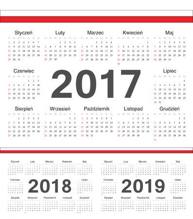 calendrier: Vector Polish circle calendars 2017, 2018, 2019. Week starts from Sunday.
