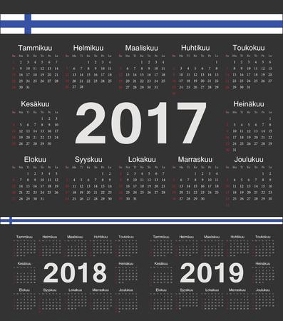 finnish: Vector black Finnish circle calendars 2017, 2018, 2019. Week starts from Sunday. Illustration