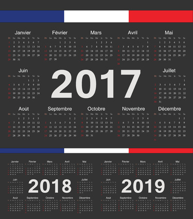 calendrier: Vector black french circle calendars 2017, 2018, 2019. Week starts from Sunday.