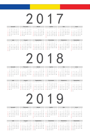 set of rectangle romanian 2017 2018 2019 year vector calendars week starts from