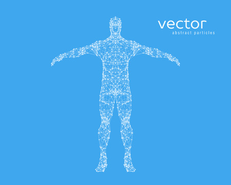Abstract vector illustration of  man on blue background.