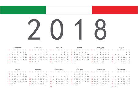 Italian 2018 year vector calendar