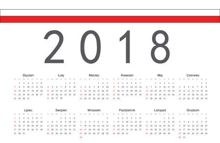 calendrier: Polish 2018 year vector calendar Stock Photo