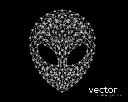 Abstract vector illustration of alien head on black background.