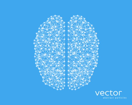 neurone: Abstract vector illustration of brain on blue background. Illustration