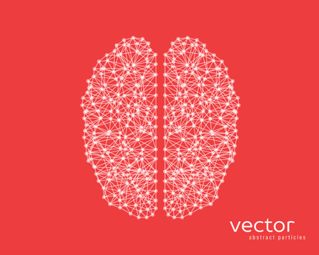neurone: Abstract vector illustration of brain on red background.