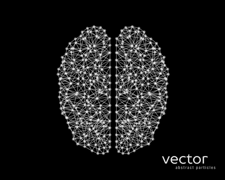 Abstract vector illustration of brain on black background.