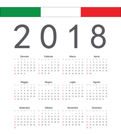 Square italian 2018 year vector calendar. Week starts from Sunday.