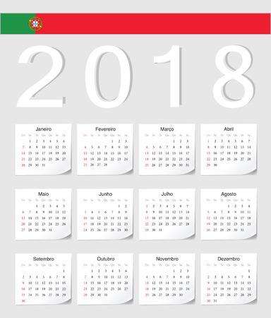 シャドウの角度を持つポルトガル語 2018年ベクトル カレンダーです。週は日曜日から開始します。