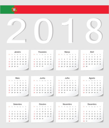 event planner: Portuguese 2018 vector calendar with shadow angles. Week starts from Sunday.