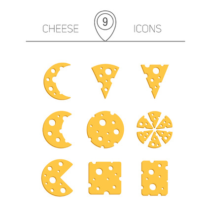 Vector illustration of cheese. Set of nine color icons.