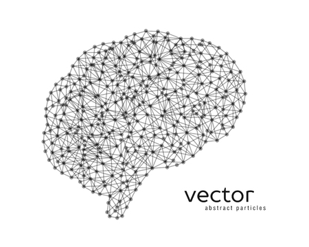 Abstract vector illustration of brain on white background.