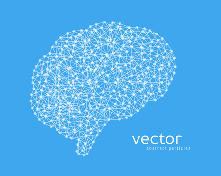 Abstract vector illustration of brain on blue background. Illustration