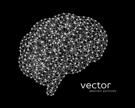neurone: Abstract vector illustration of brain on black background.