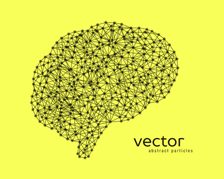 neurone: Abstract vector illustration of brain on yellow background. Illustration