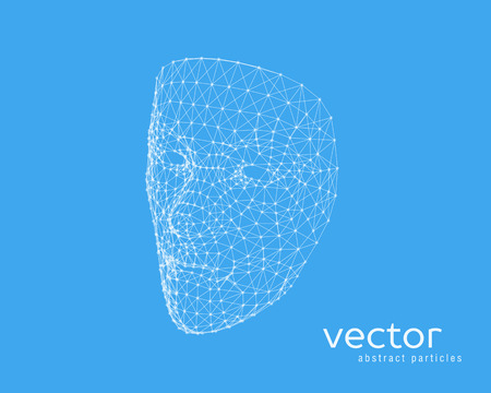Abstract vector illustration of human face on blue background. Illustration