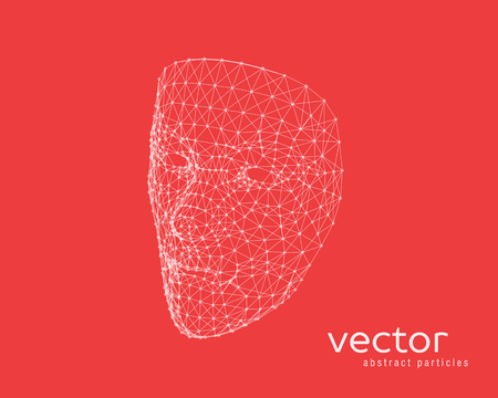 Abstract vector illustration of human face on red background.