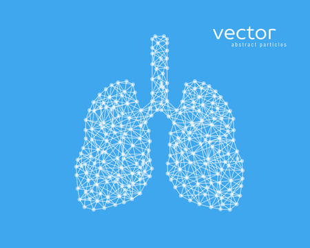 Abstract vector illustration of human lungs on blue background. Çizim