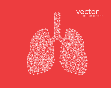 Abstract vector illustration of human lungs on red background.