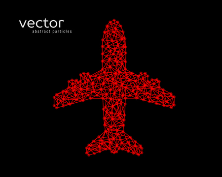 Abstract vector illustration of plane on black background. Illustration