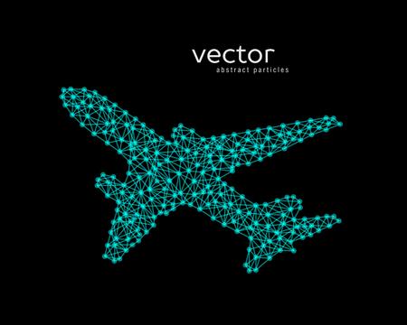 Abstract vector illustration of plane on black background. Illustration