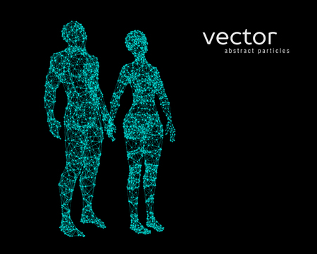 Abstract vector illustration of couple looking up.