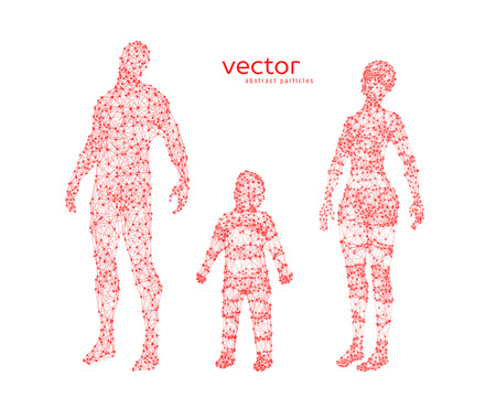 cyber woman: Abstract vector illustration of family looking up.