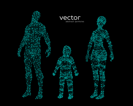Abstract vector illustration of family looking up.
