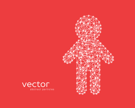 Abstract vector illustration of child on red background.