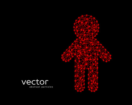 Abstract vector illustration of child on black background.