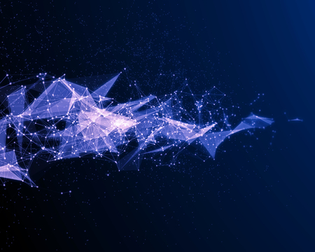 Abstract digital background with blue cybernetic particles on black background. Stock Photo