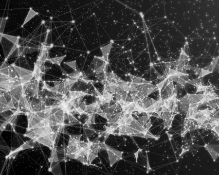 Fondo digital abstracto con las partículas cibernéticas azules. Foto de archivo - 75665768